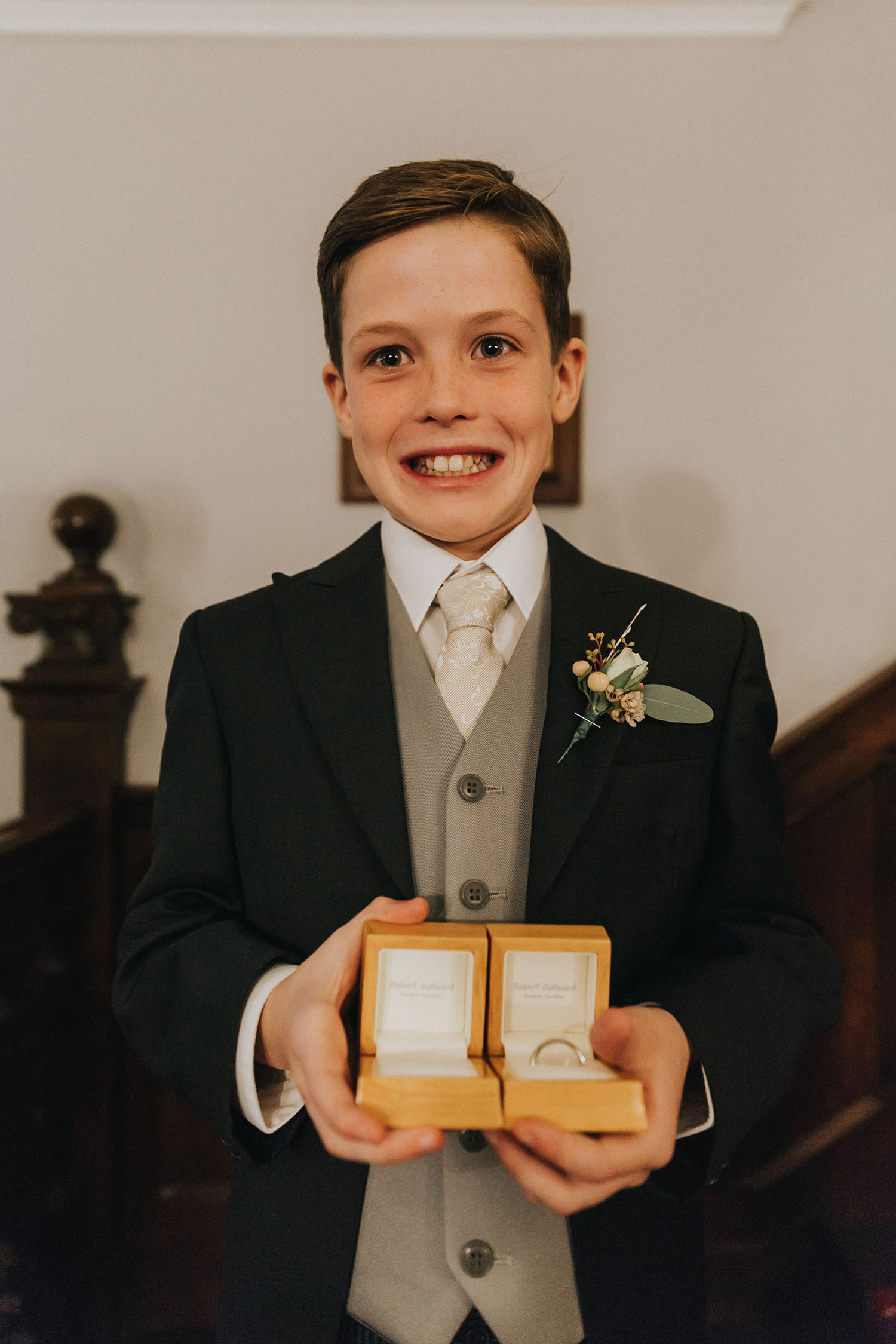 page boy at woodhall manor wedding