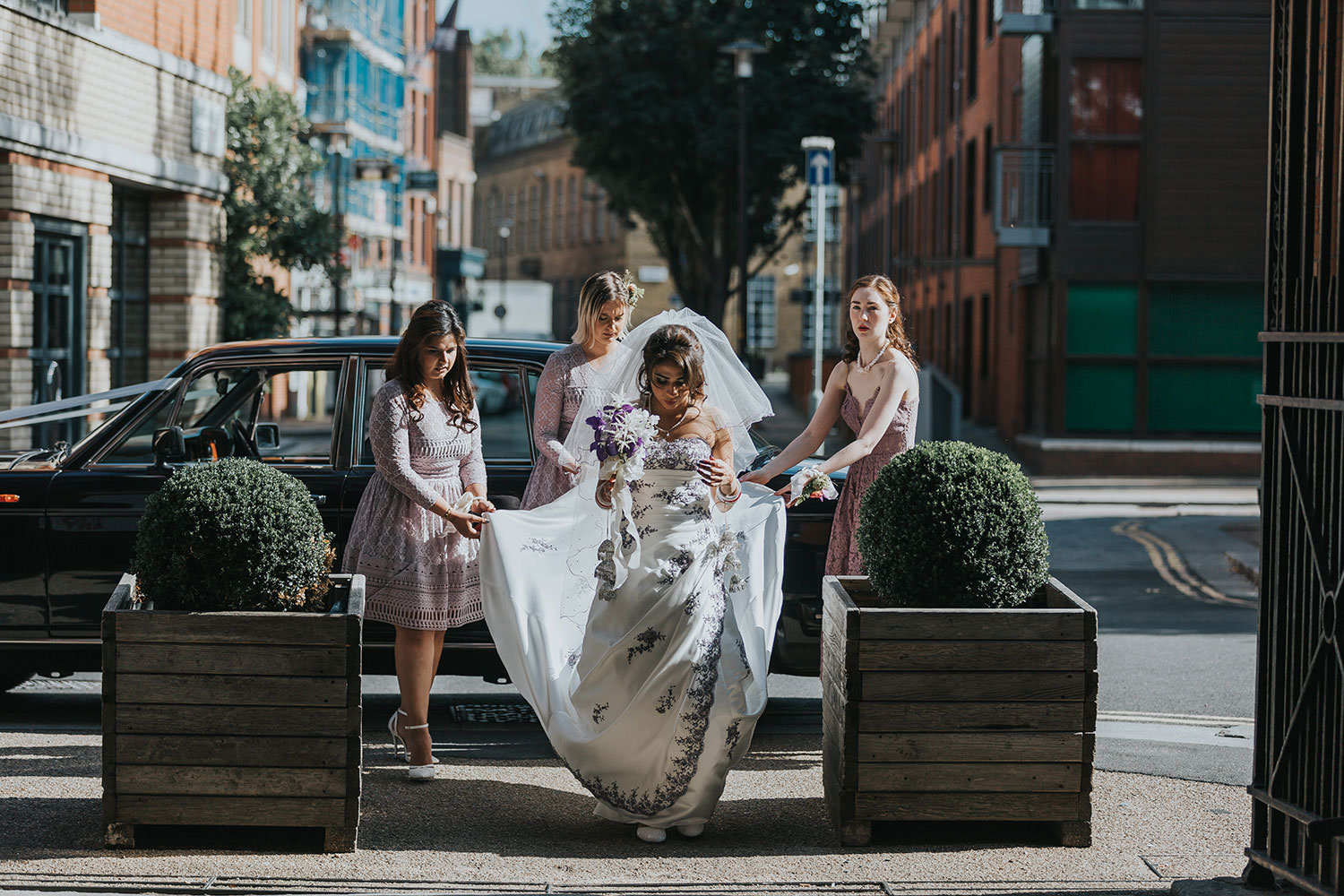 bride arrives at OXO2 Wedding London