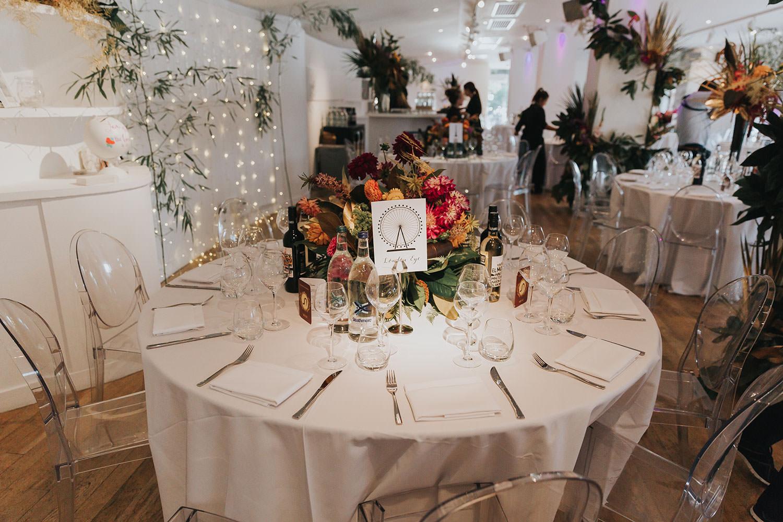 wedding table at OXO2 Wedding London