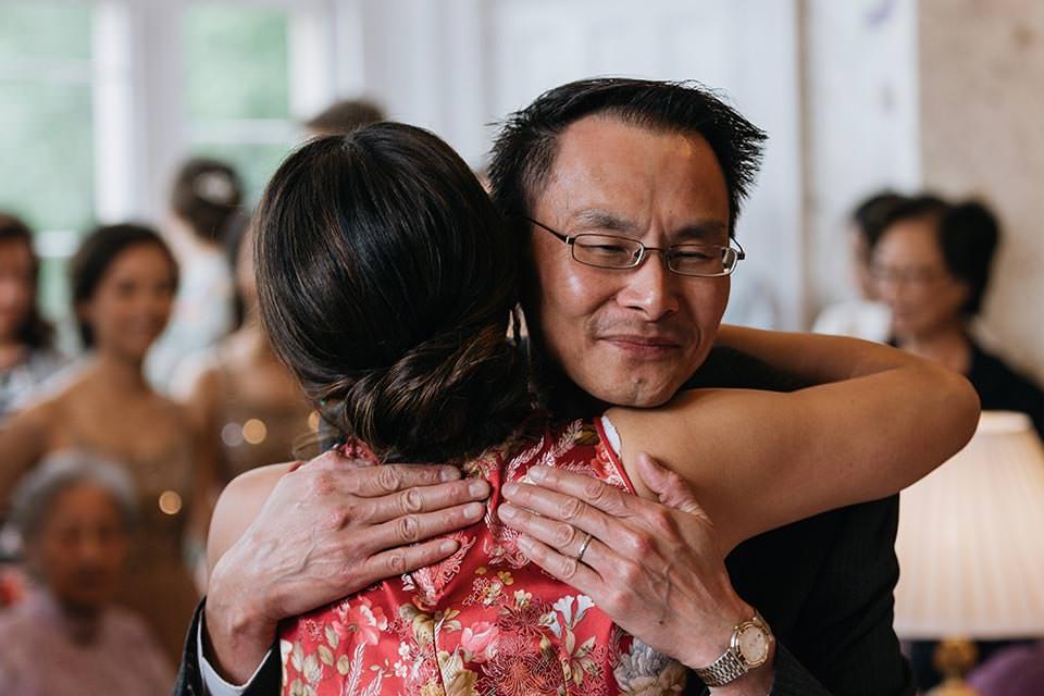 paschoe house wedding hug
