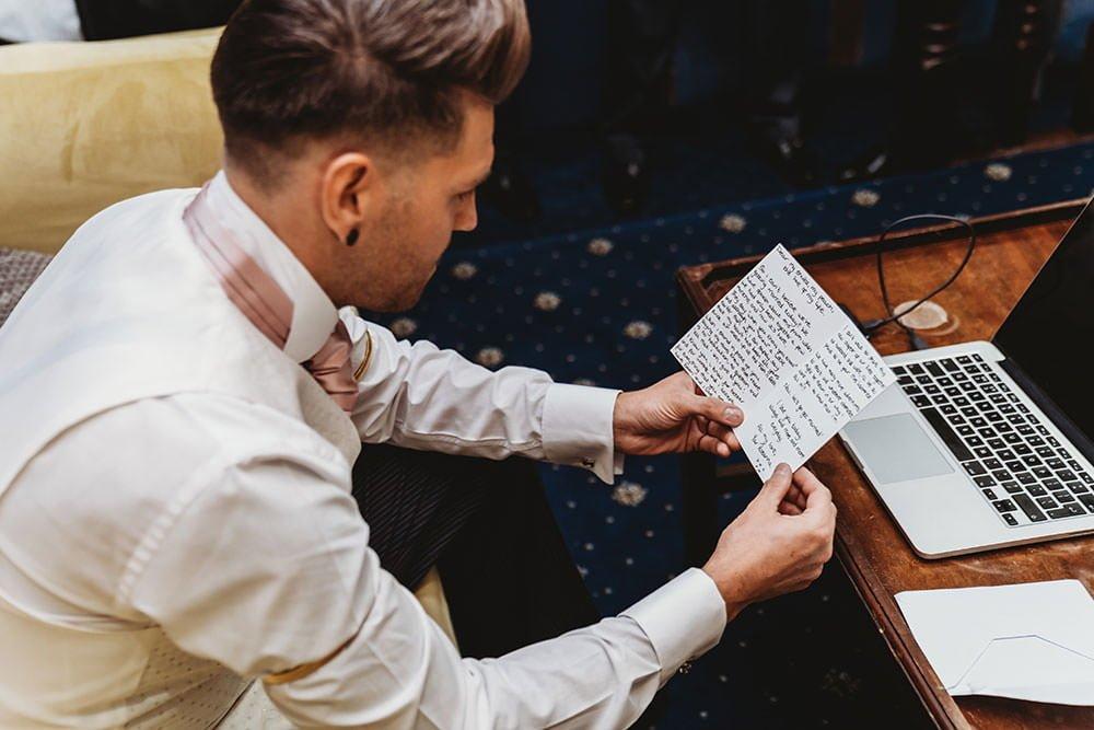 barnston lodge wedding groom reads note